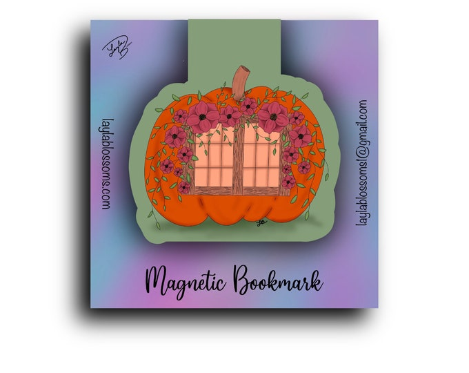 Pumpkin Cottage Magnetic Bookmark/ StickersandMorebyLB/ Layla Blossoms