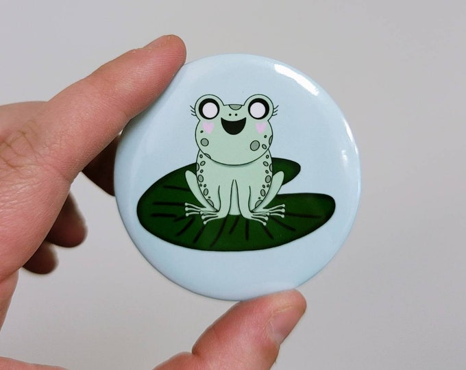 Dawn the froggy 2.25 in button pin/ layla blossoms/ stickersandmorebylb