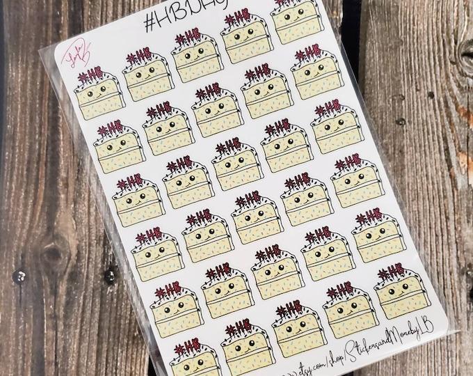 Happy Birthday planner stickers/ #HBD/ Sticker Sheets/ StickersandMorebyLB/ Layla Blossoms/ StickersandMorebyLB/ Layla Blossoms