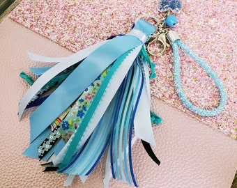 "6"" Blue Ribbon Tassel Keychain with small wristlet/ StickersandMorebyLB/ Layla Blossoms"