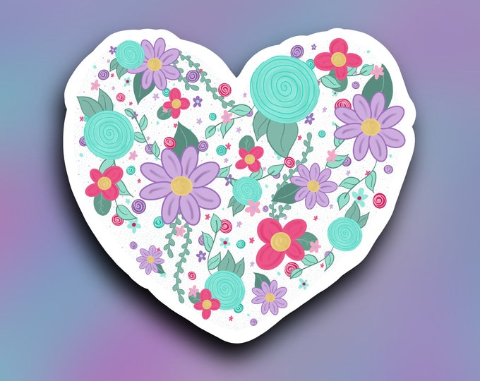 Floral heart vinyl decal/ StickersandMorebyLB/ Layla Blossomsdecals for cars, tumblers, cups, laptops or walls/ weatherproof/vinyl sticker