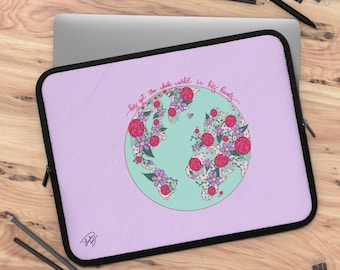 He has got the whole world in his hands Floral Laptop Sleeve