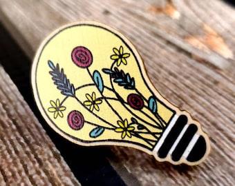 Floral Light Bulb Wooden Pin/ StickersandMorebyLB/ Layla Blossoms