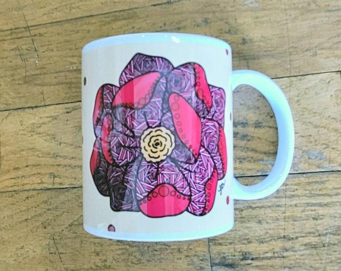 Falling Lines Flower Ceramic Mug/ StickersandMorebyLB/ Layla Blossoms/ Mug handmade/ Mug Art