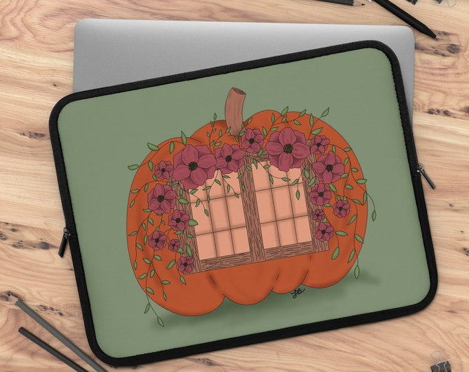 Pumpkin cottage Laptop Sleeve/ tablet sleeve/ Layla Blossoms LLC/ Stickersandmorebylb