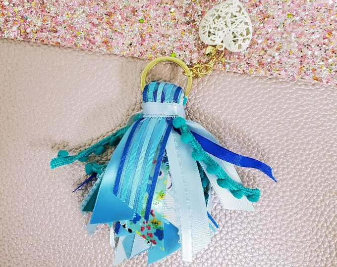 "3"" Blue Ribbon Tassel Keychain with small wristlet/ StickersandMorebyLB/ Layla Blossoms"