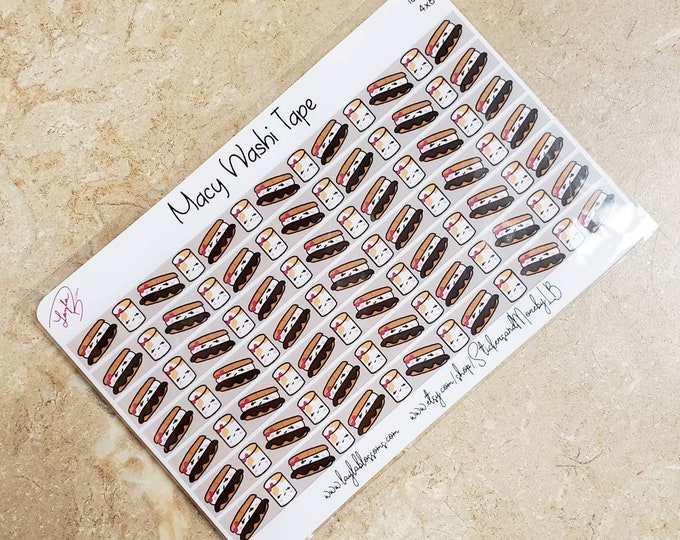 Macy the S'mores washi tape sheet/ StickersandMorebyLB/ Layla Blossoms