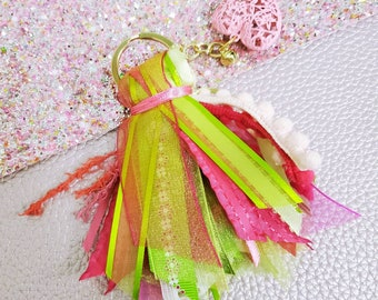 3 inch green and pink tassel keychain/ StickersandMorebyLB/ Layla Blossoms