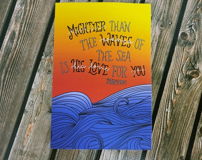 Mightier than the waves of the sea are his love for you lined matte paperback Notebook, journal/ StickersandMorebyLB/ Layla Blossoms