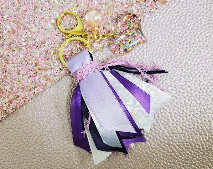 "3"" Purple, Lavender and White Tassel Keychain/ StickersandMorebyLB/ Layla Blossoms"