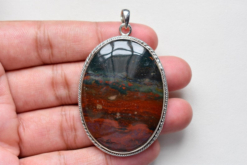 Blood stone pendant gemstone pendant jewelry pendants sterling 925 silver #45 silver pendant
