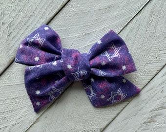 Purple and Pink Jewish fabric Hair bow, Hanukkah bow, Shabbat, Hanukkah headband, Star of David, Clip or Headband, Baby naming gift