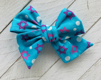 Hanukkah gift, Pink purple and blue fabric Hair bow, Jewish, Shabbat, Hanukkah headband, Star of David, Clip or Headband, Baby naming gift