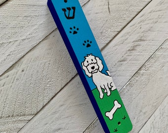 Dog Mezuzah, White, Puppy Mezuzah, Children's Mezuzah, Jewish Gift, hand painted, kids mezuzah