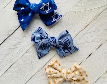Hanukkah Hair Bow Gift Set on Alligator Clips, Hanukkah hair bows, Shabbat, Matzah bows, Star of David, Children's Judaica Gift, kids