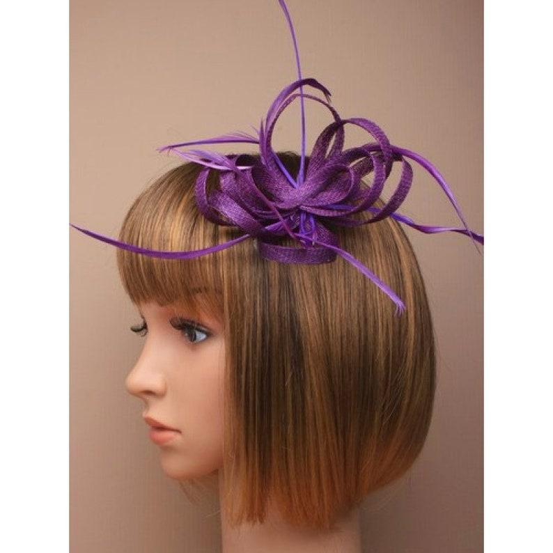 purple race day hat derby fascinator wedding fascinator,womens purple hat, purple loop flower  sinamay feather fascinator cocktail hat