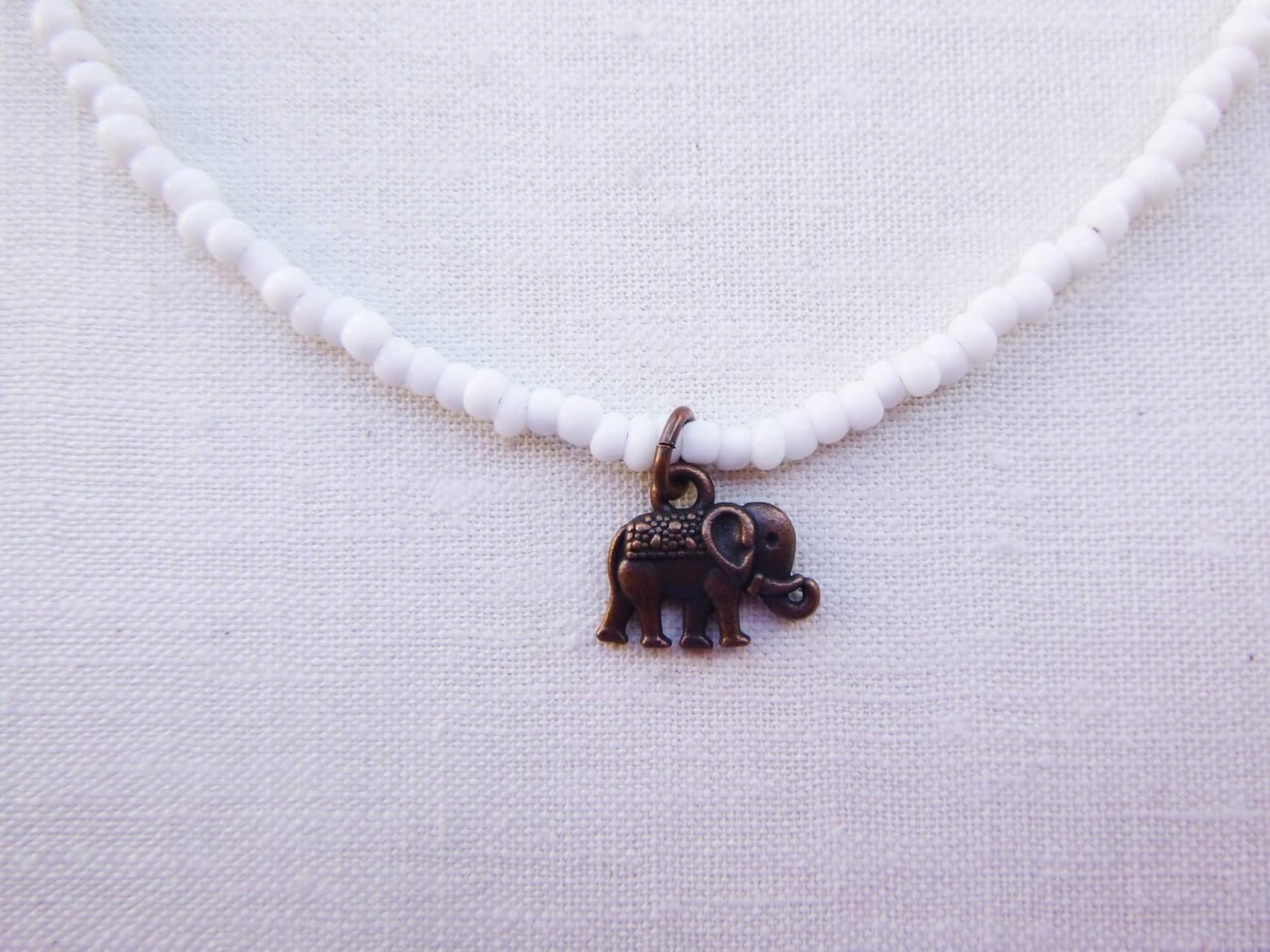 einfache kupfer elefant halsband weißes glas bede perle