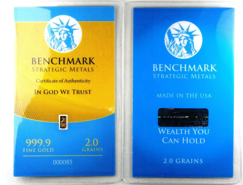 AUTHENTIC BENCHMARK STRATEGIC 1//4 grain 24K GOLD BAR .9999 fine GOLD