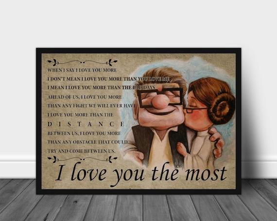 UP Carl And Ellie Poster I Love You The Most Landscape No Frame Paper Art Print