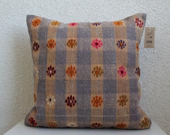 kilim pillow turkish kilim pillow 16x24 gray striped kilim pillow bohemian kilim pillow handmade pillow lumbar pillow cushion case No 1420