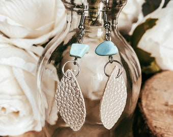 Julie Silver Faux Leather and Turquoise Stone Dangle Earrings | Turquoise Stone | Faux Leather Earrings