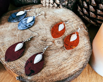 Hannah Cork Leather and Silver Leaf Earrings | Silver Lead Charm Earrings | Vegan Leather Earrings | Cork Leather