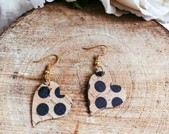 Minnie Heart Black Dot Print Cork Leather Dangle Earrings | Vegan Leather Earrings | Cork Leather