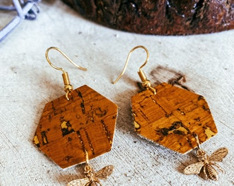 Bee Small Honeycomb Hexagon Cork Leather and Gold Bee Charm Dangle Earrings | Vegan Leather Earrings | Cork Leather