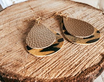 Sarah Large Gold Leopard Print and Smaller Gold Faux Leather Double Tear Drop Earrings   Leopard Print   Faux Leather
