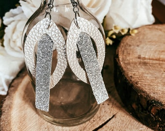 Diana Large Cream Faux Leather Tear Drop and Silver Glitter Bar Dangle Earring | Faux Leather Earrings |