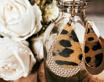 Vicky Large Gold and Small Gold Leopard Print Faux Leather Double Tear Drop Earrings | Leopard Print | Faux Leather Earrings