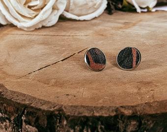 Gemma Leopard Print Faux Leather Stud Earrings | Faux Leather Earrings | Stud Earrings