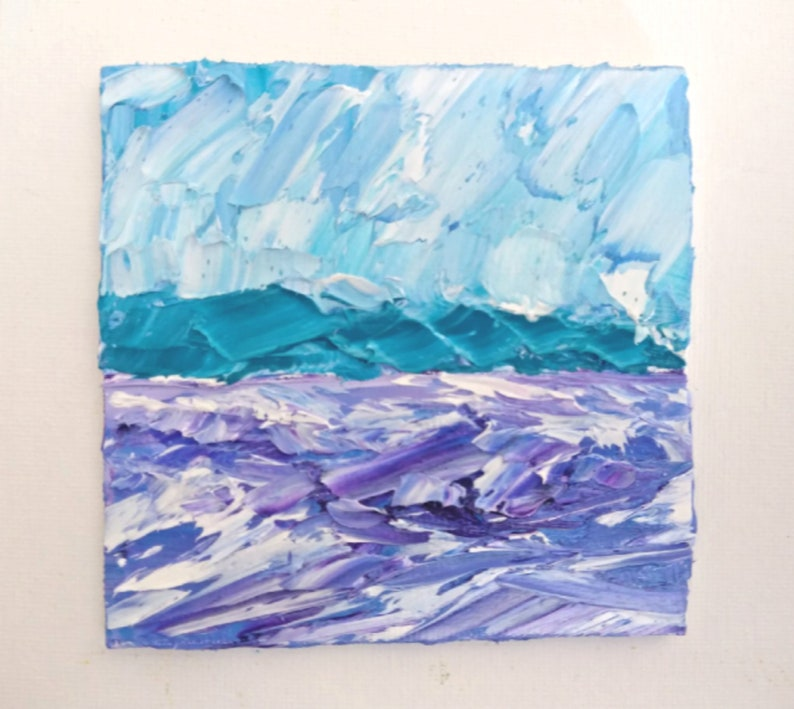 Lavender Mountains Painting Original Oil Impasto Small Artwork by IIArtStudio 4x4 in.