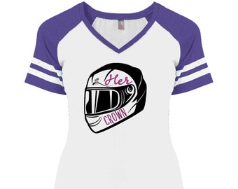 Her crown is a motorcycle helmet Ladies' Game V-Neck T-Shirt