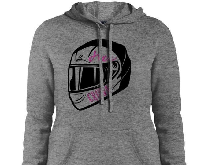 Her crown is a motorcycle helmet Ladies' Pullover Hooded Sweatshirt