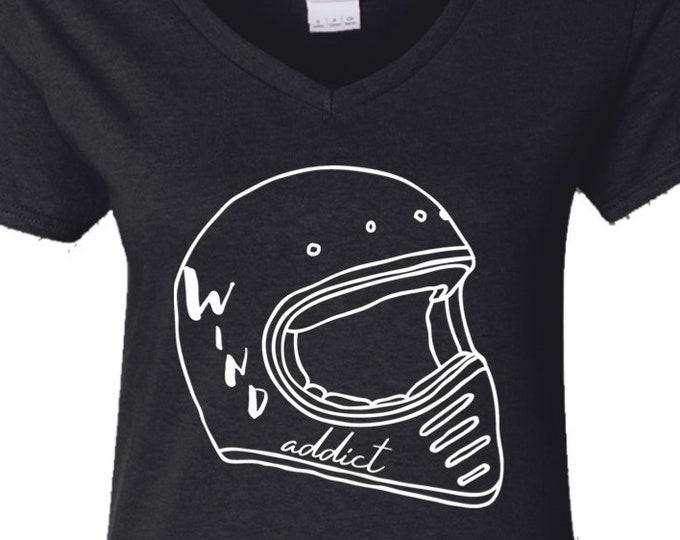 Wind Addict- Ladies' 5.3 oz. V-Neck T-Shirt