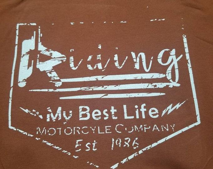 Riding my best life moto company, zip up hoodie.