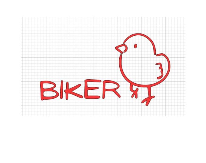 Biker Chick Decal (for car window or bumper, motorcycle helmet, etc.)