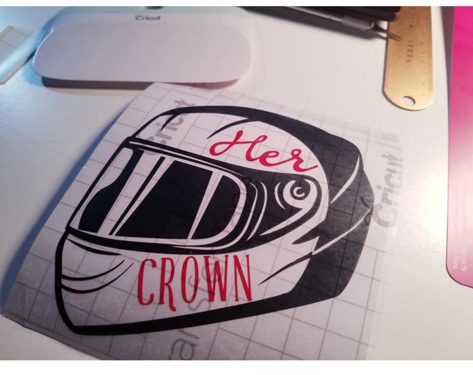 Featured listing image: Her crown is her motorcycle helmet- car decal