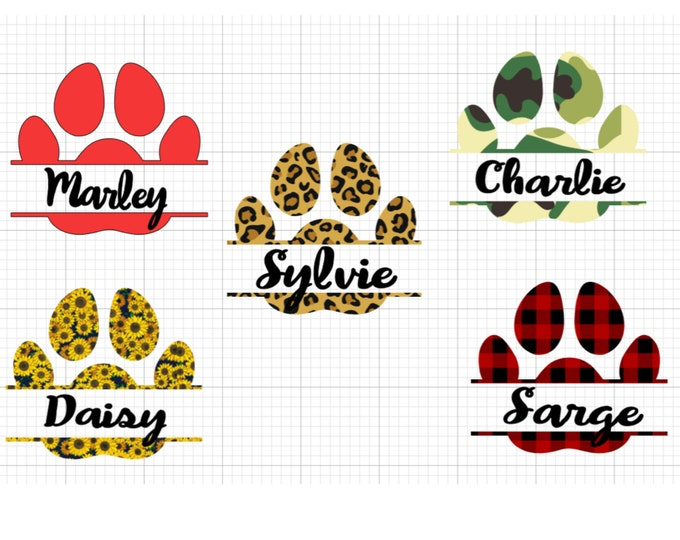 Featured listing image: Personalized Paw Print- Peel and stick decals with high quality vinyl. Perfect for car windows.