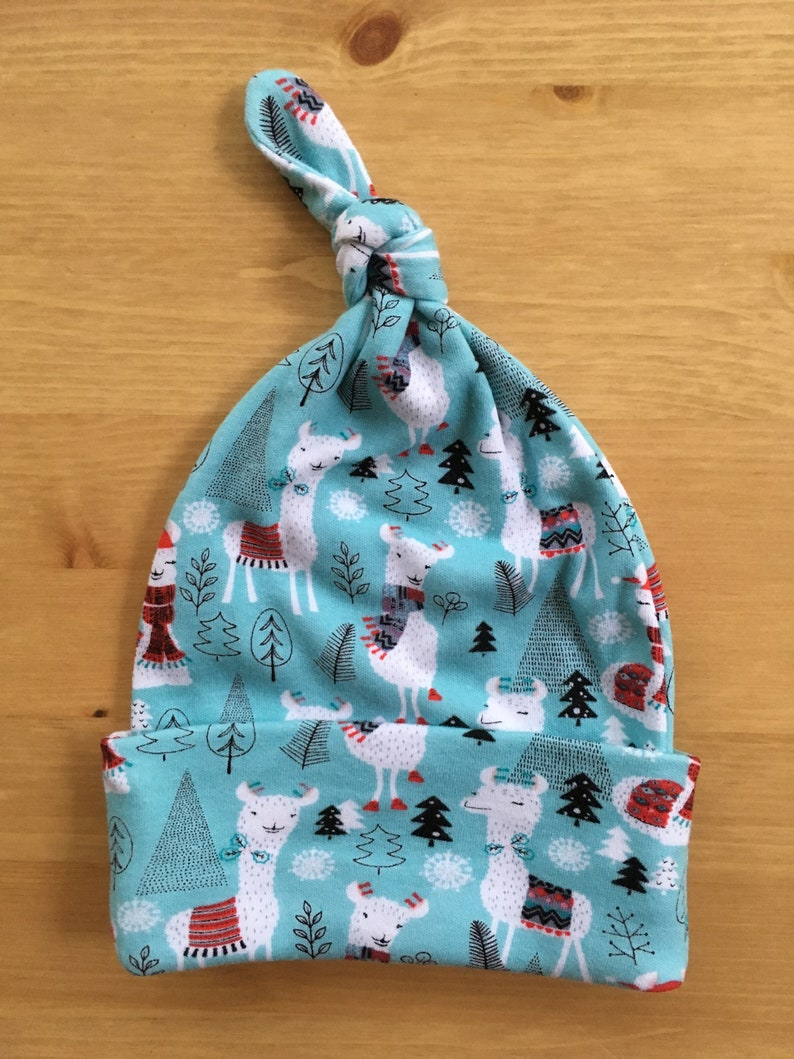 Christmas animal harem pantsleggings with knotted baby hat; newborn baby; 0-3 months; simple neutral winter clothes