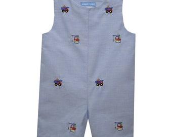 Monogrammed Boys Denim Shortall Jon Jon Button Shoulder Toddler Shortall Baby Boy Jumpsuit Jonjon Snaps Boys Overalls Personalized Chambray