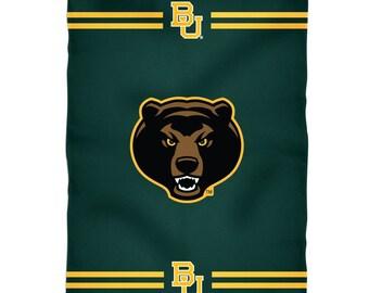 BabyToddler Gender Neutral Wrap-Around Green /& Gold Baby Blanket Baylor University Texas BU Bears College Fleece With Crochet Ruffle