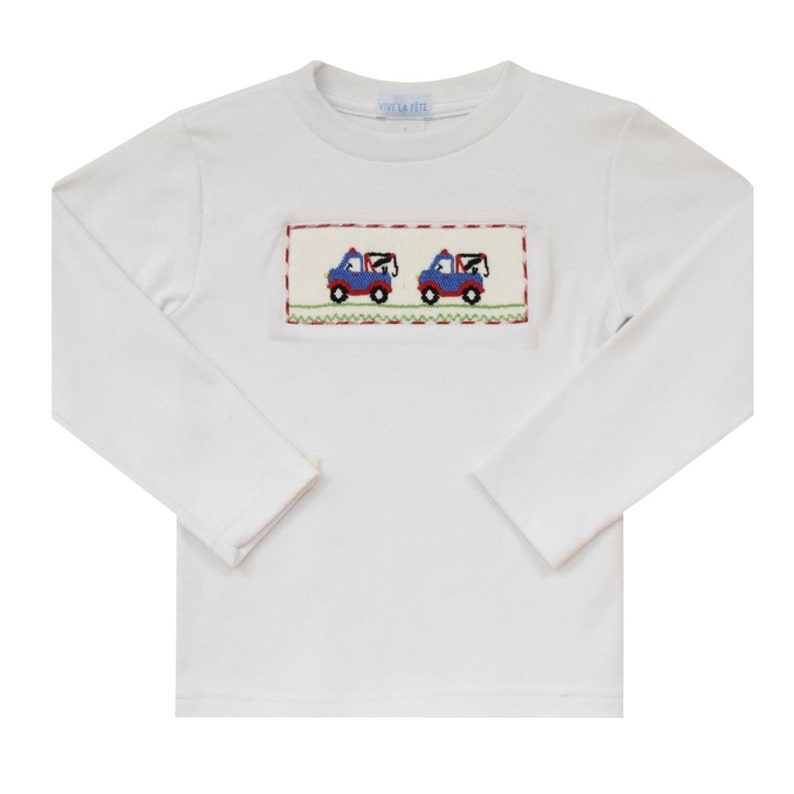 Tow Truck Smocked White Knit   Boys Tee Shirt