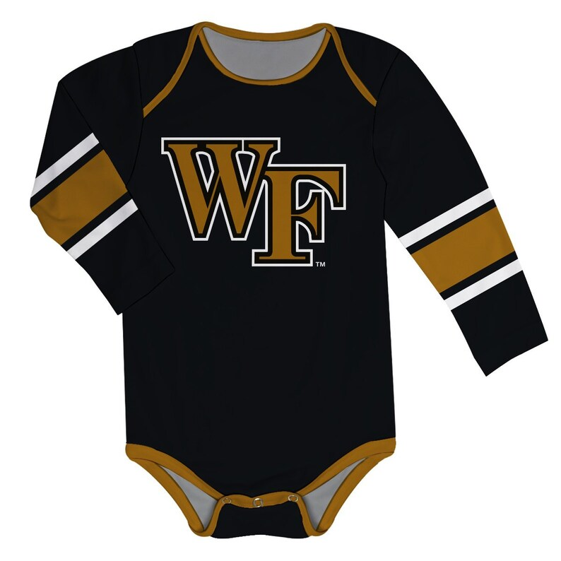 Wake Forest Stripes Black Long Sleeve Onesie