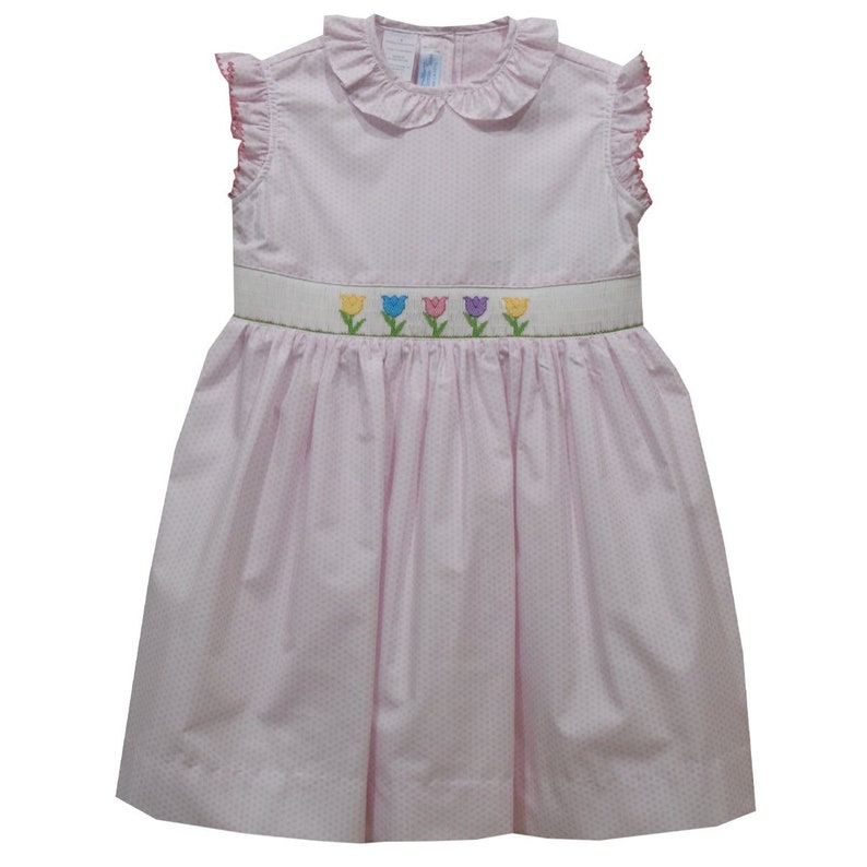 Tulips Smocked Pink Polka Dot Girls Dress