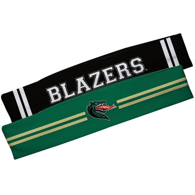 Alabama At Birmingham Green And Black Stripes Headband Set