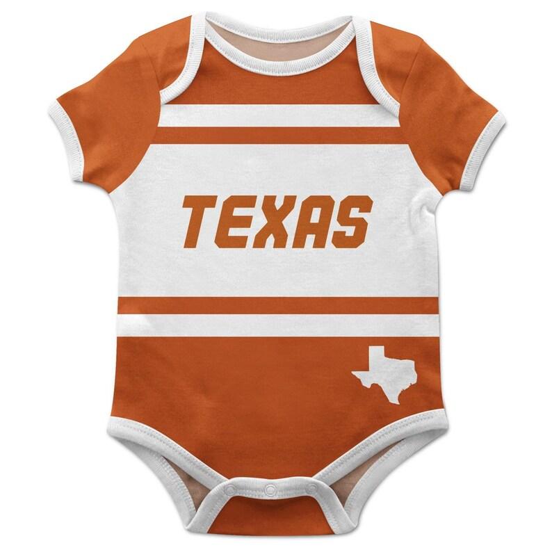 Texas Block Stripe Orange Short Sleeve Onesie