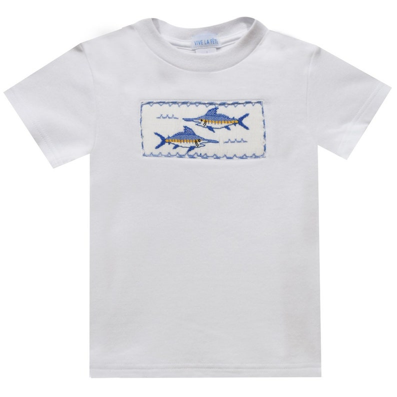 Sailfish Smocked White Knit Boys Short Sleeve Tee Shirt