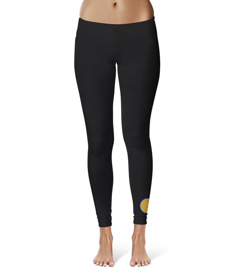 Albany State Rams ASU Vive La Fete Game Day Collegiate Logo at Ankle Women Black Yoga Leggings 2.5 Waist Tights